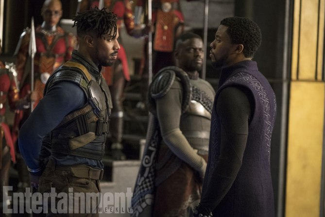 Killmonger and T'Challa with W'Kabi in the background