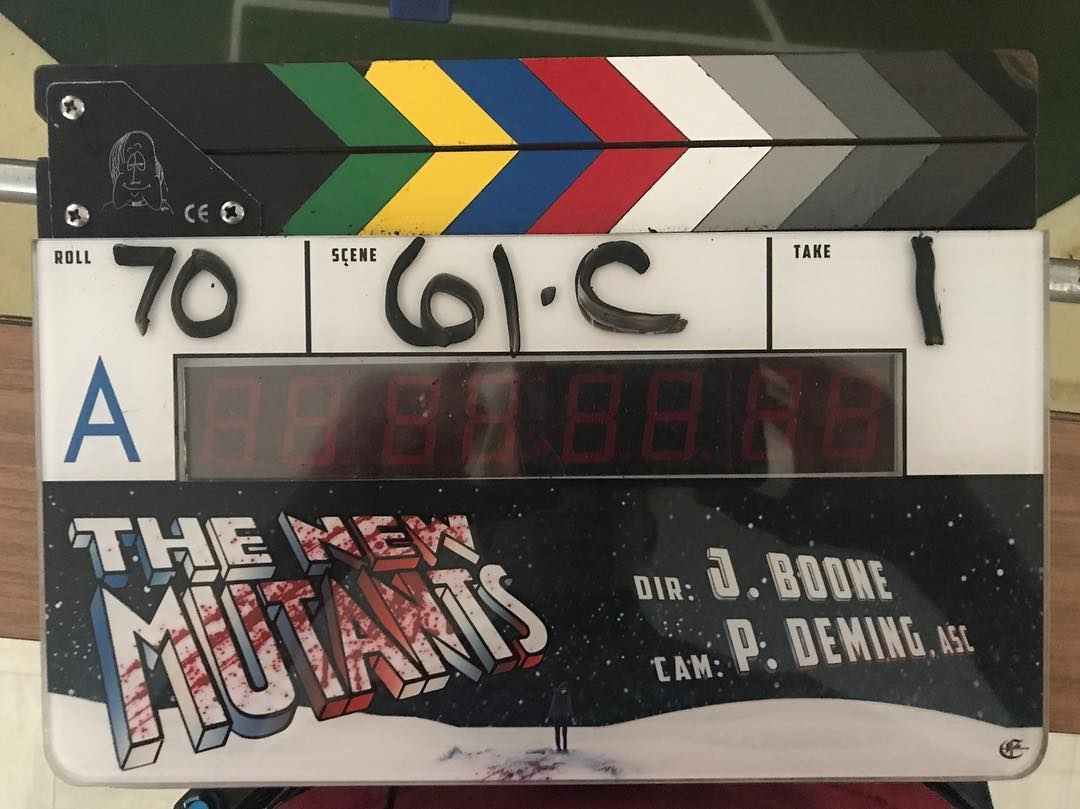 The clapperboard featuring New Mutants logo