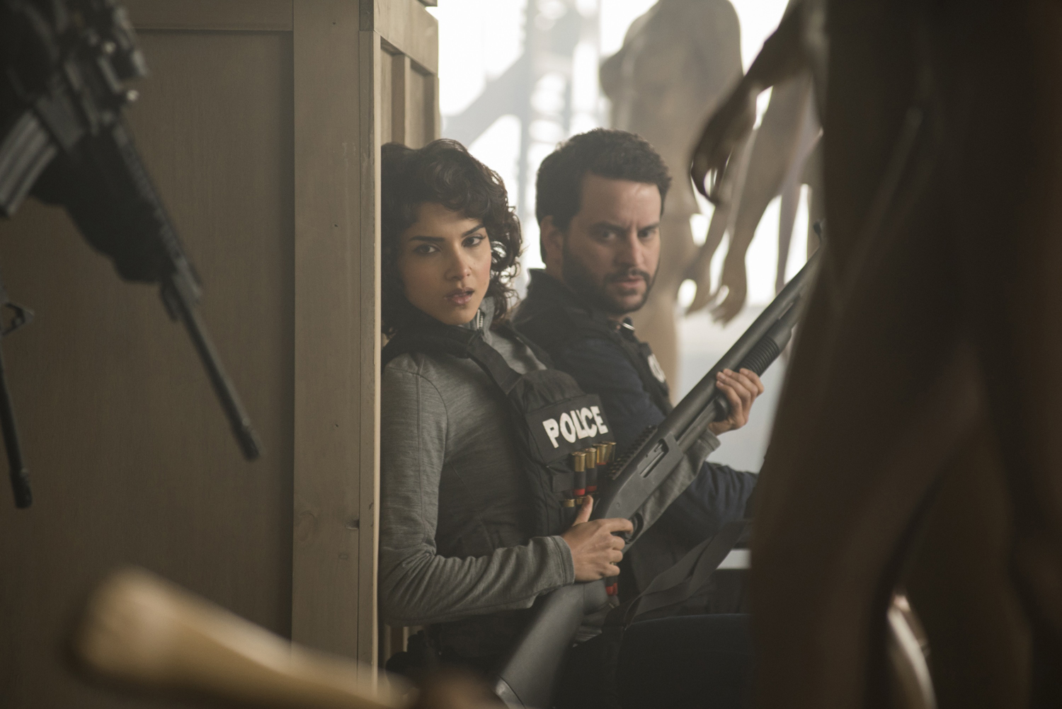 Amber Rose Revah's Dinah Madani with Michael Nathanson's Sam Stein at a shoot-out