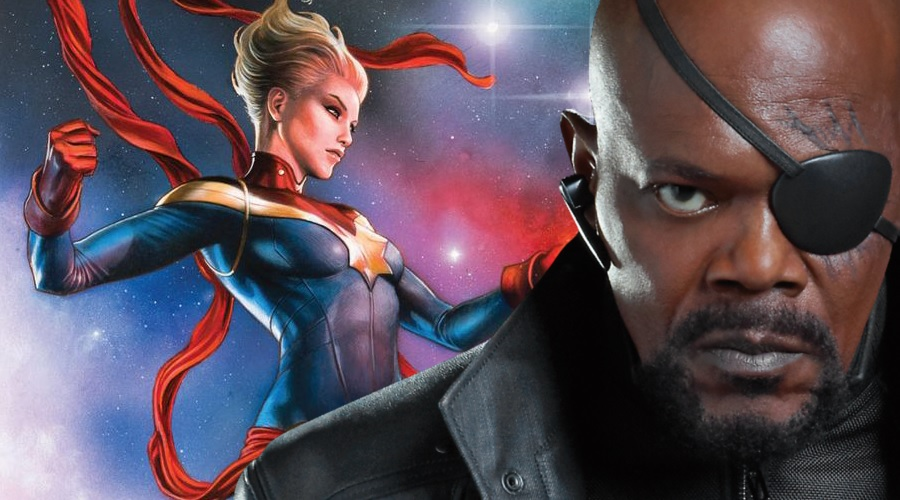 Captain Marvel meets up with a young Nick Fury in new set video and photos!