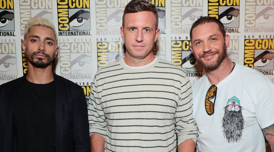 Venom director Ruben Fleischer with cast members Tom Hardy and Riz Ahmed at SDCC 2018