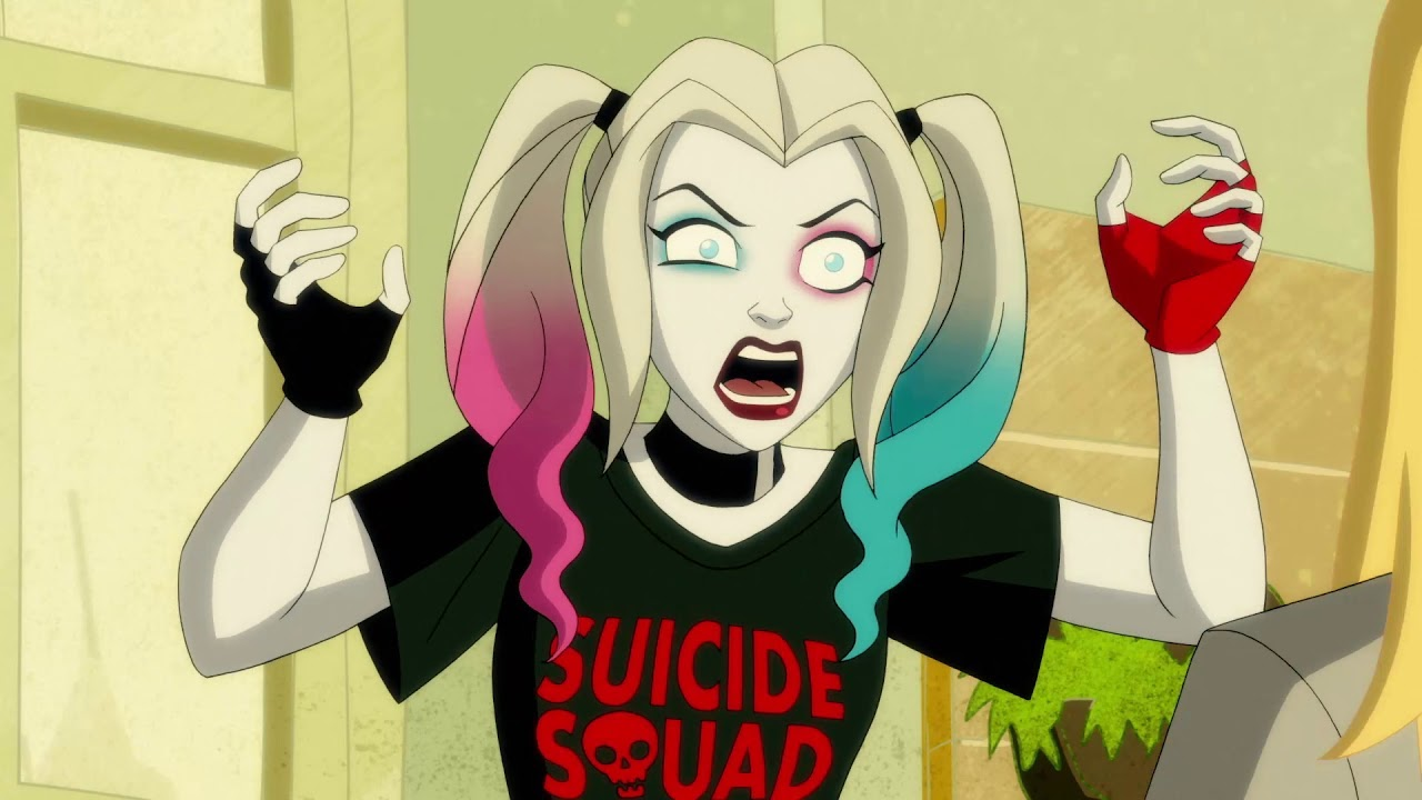 A deranged Harley Quinn wearing a Suicide Squad T-shirt